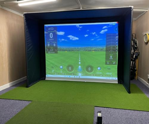 Skytrak Golf simulator set up
